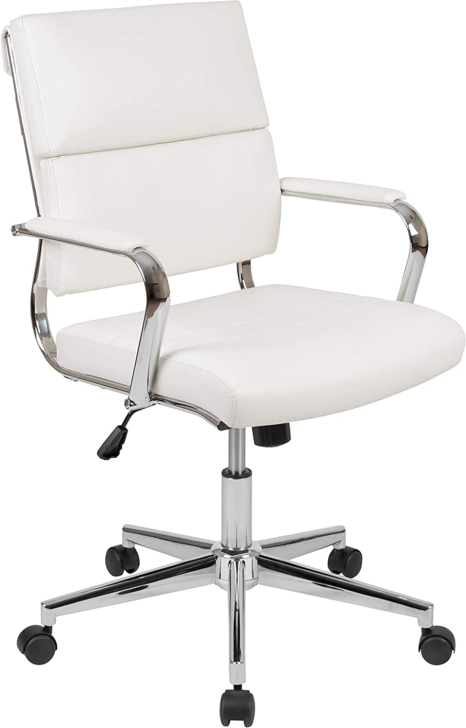 Flash Furniture Mid-Back White LeatherSoft Contemporary Panel Executive Swivel Office Chair