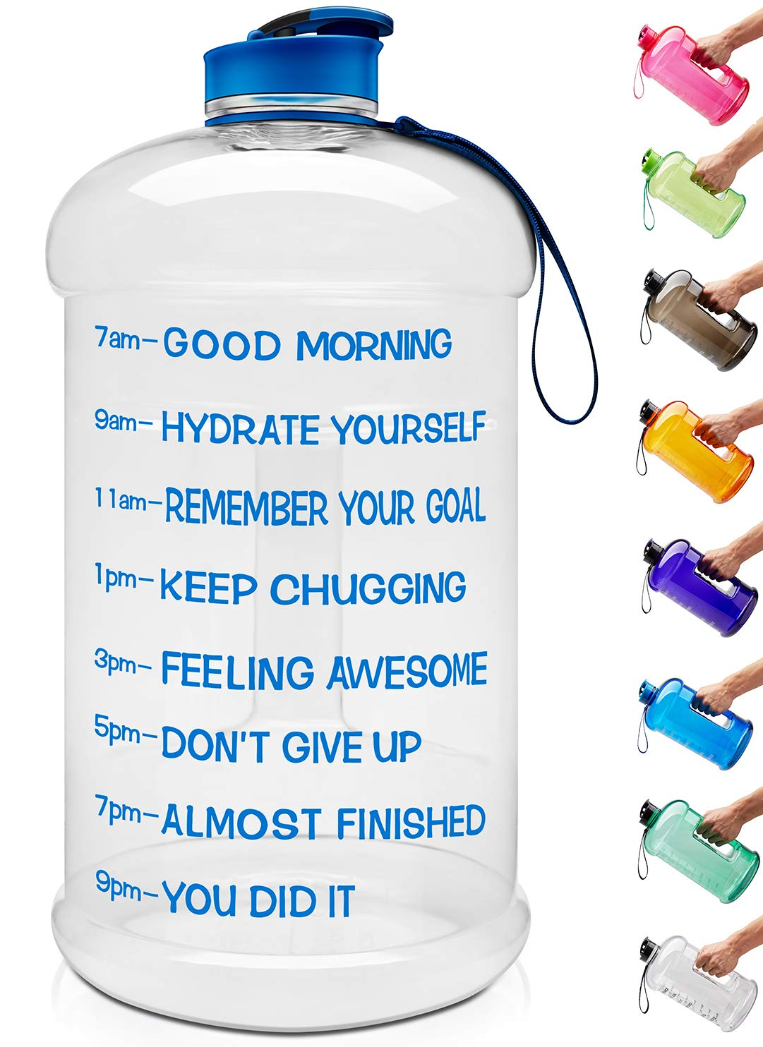 Venture Pal Large 1 Gallon/128 OZ & 74 OZ Motivational Leakproof BPA Free Water Bottle with Time Marker Perfect for Fitness Gym Camping Outdoor Sports-1Gallon-Transparent-Blue