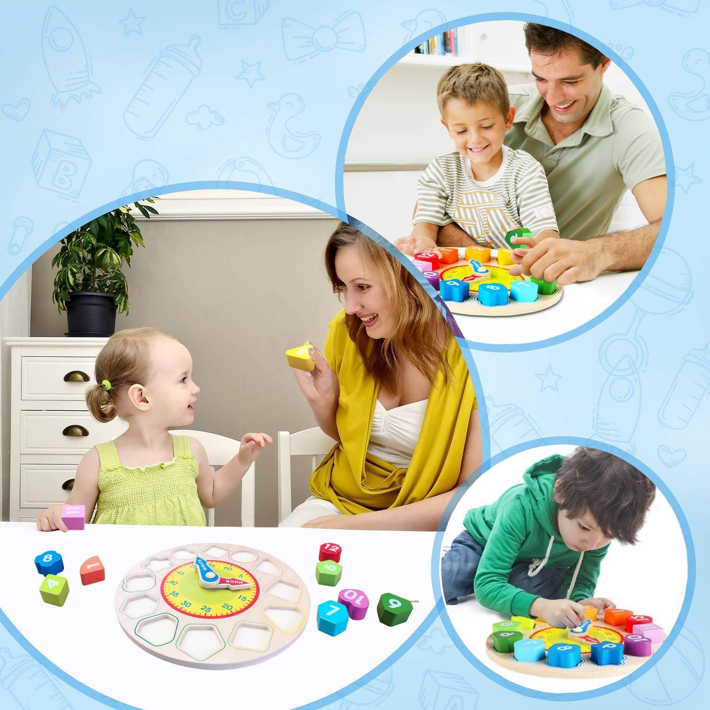 Jacootoys Holzform Sortieruhr Spielzeug mit Anzahl und Form Lernspiel f/ür Kinder