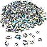 200PCS AB Acrylic Sew on Diamante Rhinestone Flatback Crystal Buttons Gems 10 Styles for DIY Crafts Clothing Wedding Dress De