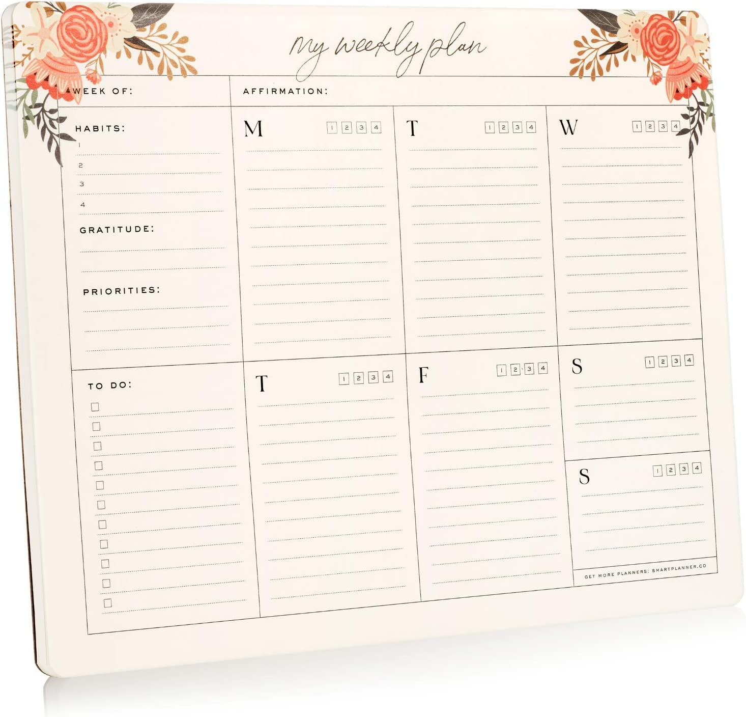 """Smart Planner Weekly Planner Pad - to Do List Notepad - 52 Undated 100gsm Thick Tear-Off Sheets – Size 8.5"""" x 11"""" – Daily Schedule, Habit Tracker, Gratitude & Priorities Sections"""