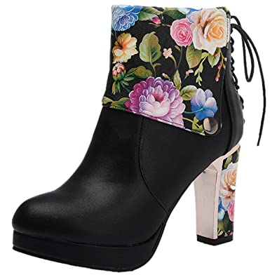 Womens Ankle Boots Thicken Heels Platform Lace Up Zip Round Toe Party Dress Booties Flower