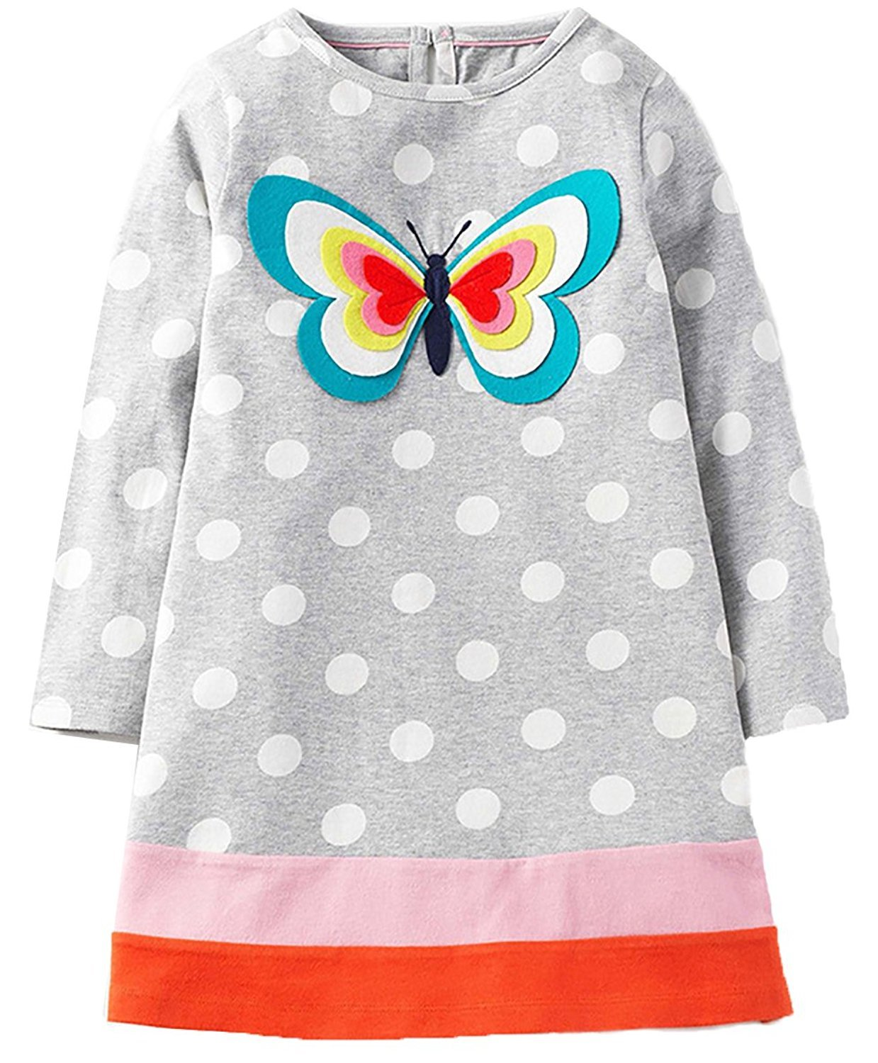 Girls Cotton Long Sleeve Casual Cartoon Appliques Striped Jersey Dresses (5T, Butterfly)