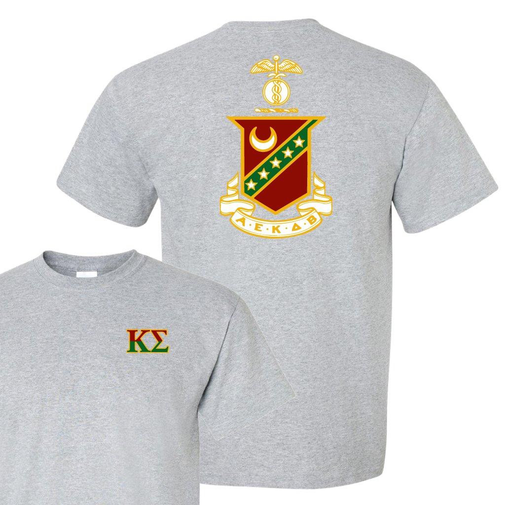 Kappa Sigma Standard T-Shirt - Crest Design on Back (large, Athletic Gray)