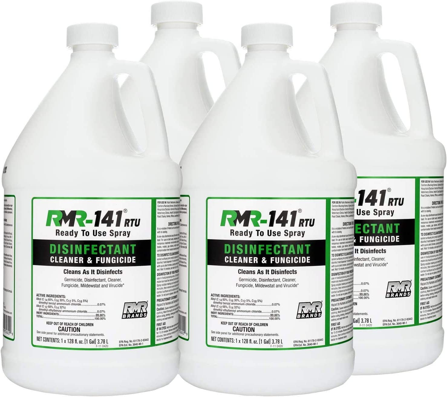 RMR-141 RTU Mold Killer, Cleaner to Kill Mold, Inhibits the Growth of Mold and Mildew, Disinfectant and Cleaner, Kills 99% of Household Bacteria and Viruses, EPA-Registered Product, 1 Gallon (4-Pack)