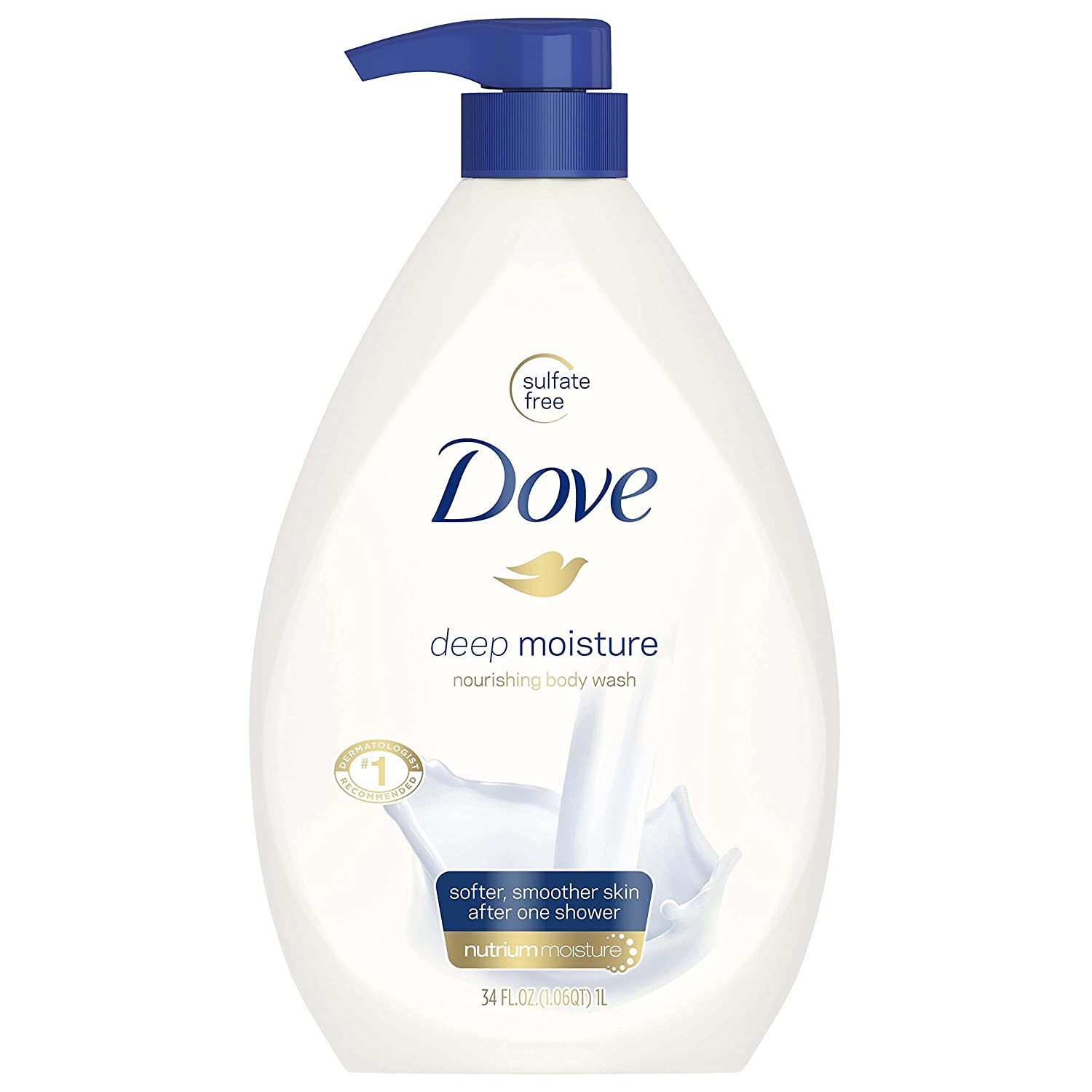 Dove Body Wash Pump, Deep Moisture, 34 Fl Oz (Pack of 1)