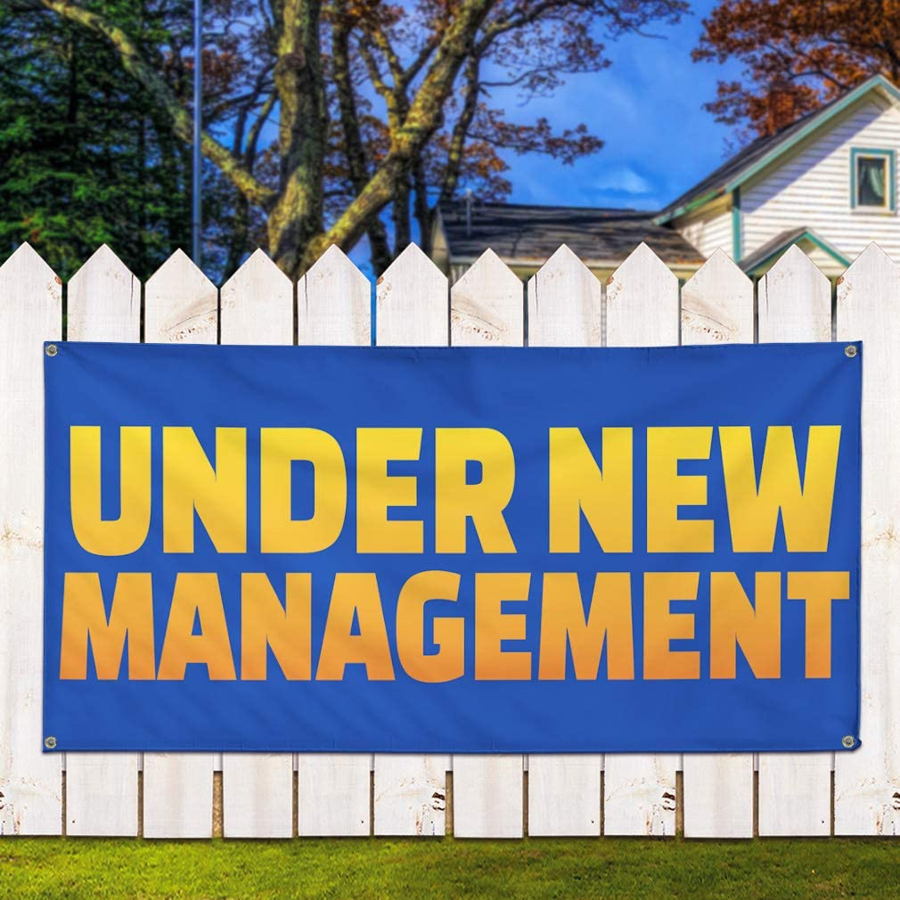 Vinyl Banner Sign Under New Management #3 Business Outdoor Marketing Advertising Blue 4 Grommets 24inx60in Multiple Sizes Available Set of 3