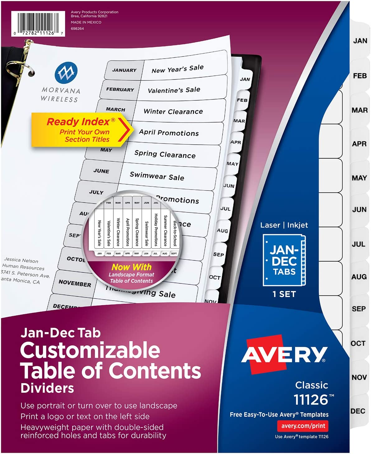 1 Set 11307 Avery Preprinted Dividers with JAN-DEC Tabs