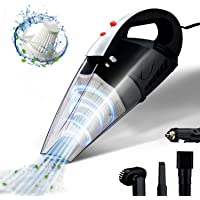 Car Vacuum Cleaner, GSSUSA High Power Portable Vacuum Cleaner for Car with Reusable 2 Pcs Steel HEPA Filter Wet and Dry Use with LED Light Low Noise 16.4FT(5M) DC 12V Carry Bag for All Car