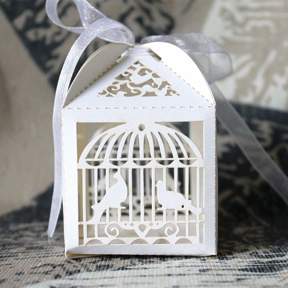 Amazon.com: 50pcs Laser Cut Bird Cage Gift Candy Chocolate Packaging ...