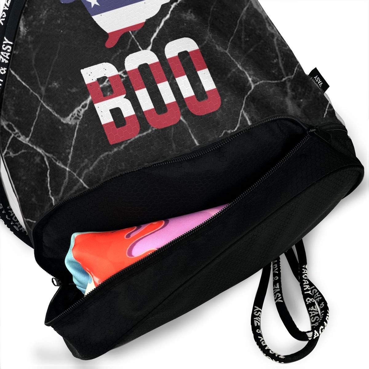Drawstring Sports Backpack Boo Ghost American Flag Men and Women Gym Sport Yoga Rucksack Shoulder Bags