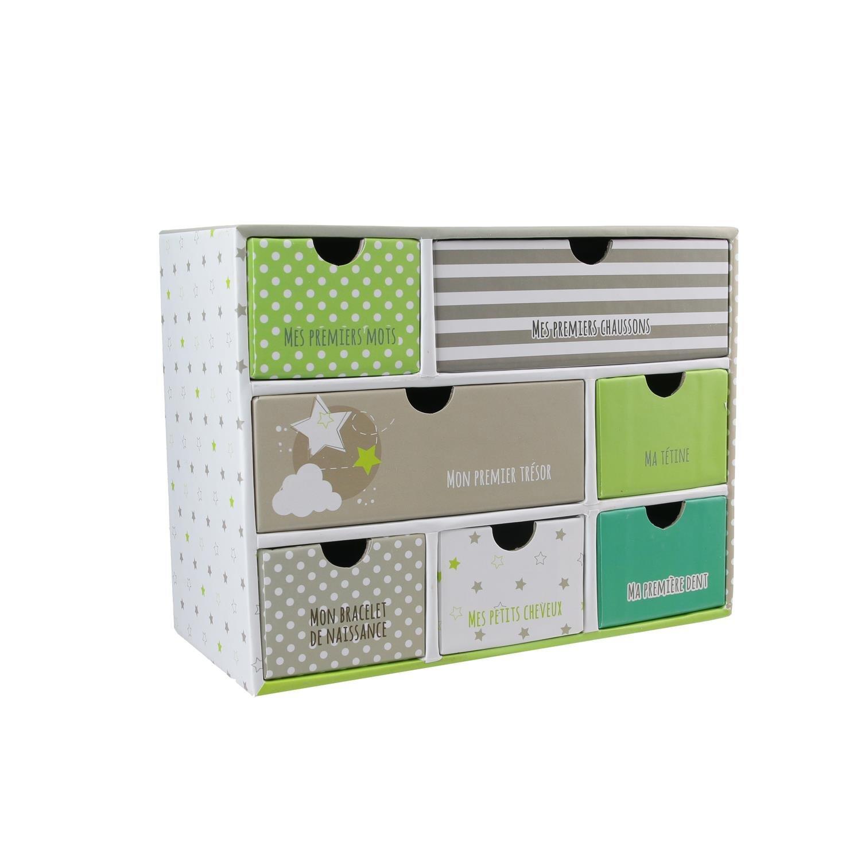 Recinto de recuerdos 7cajones bebé Tom & Zoé regalo de nacimiento (pulsera de nacimiento, mecha, tetina...), 3colores a elegir beige Brun/Vert pale Cmp