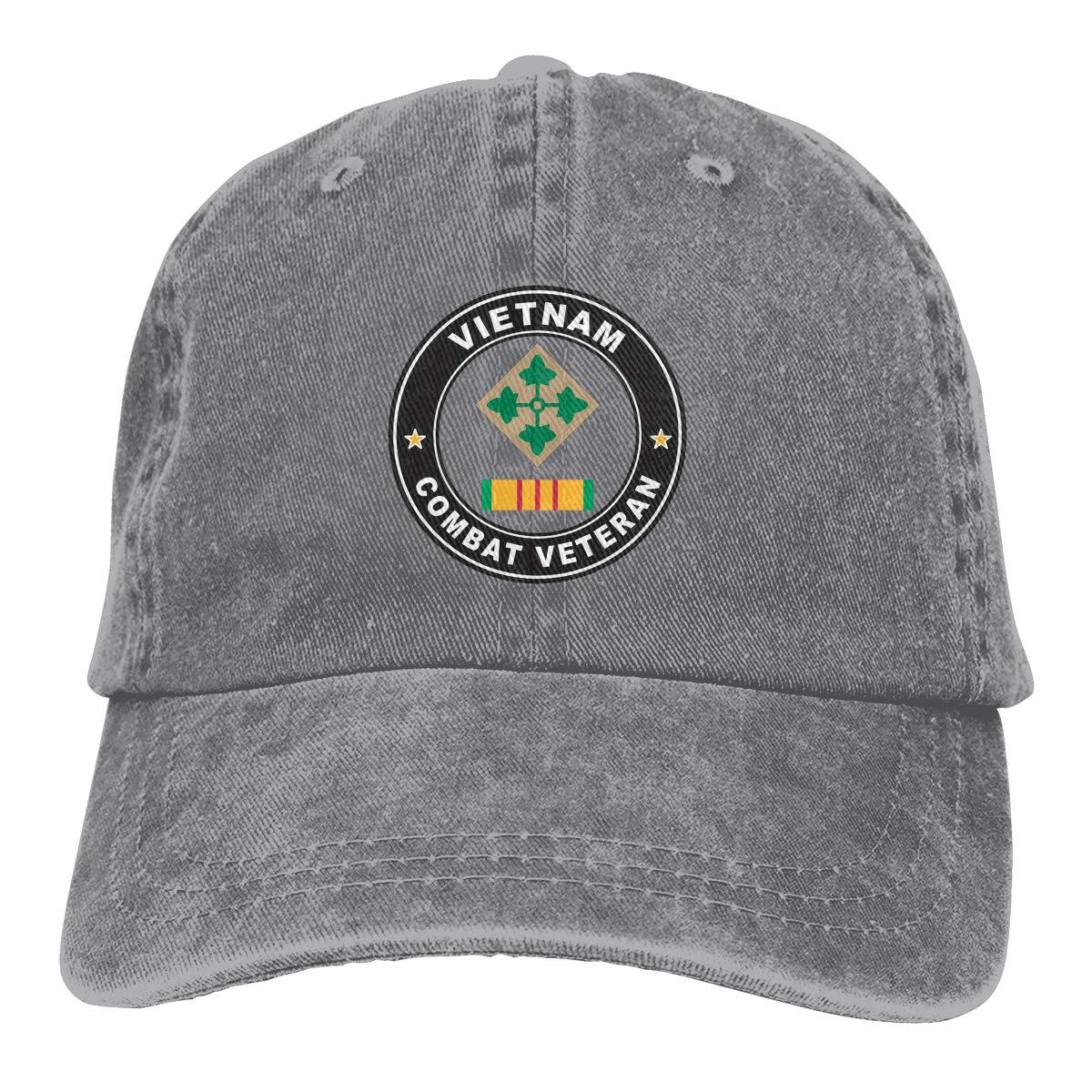 4th Infantry Division Vietnam Combat Veteran Fashion Adjustable Cowboy Cap Denim Hat for Women and Men