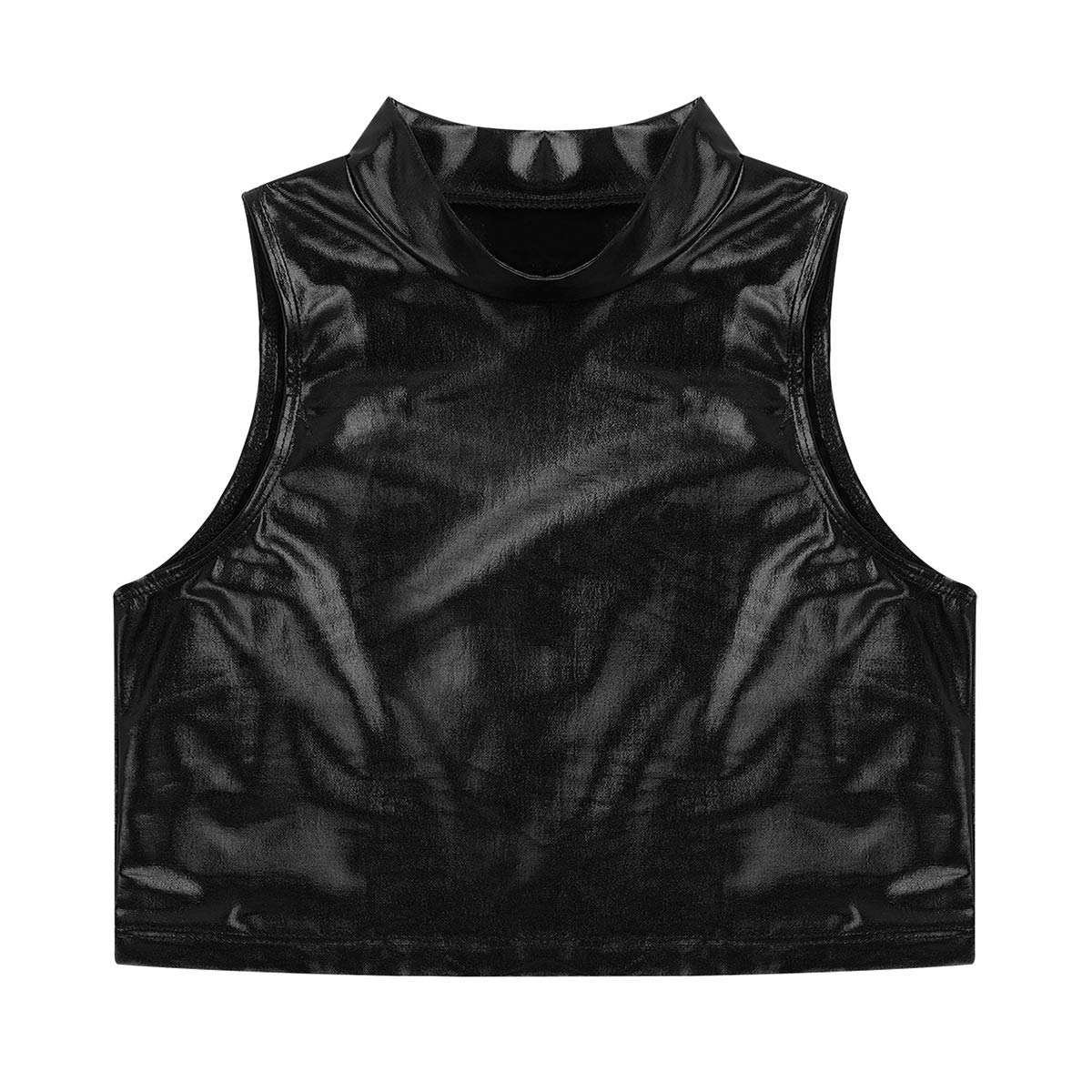 FEESHOW Big Girls Sleeveless Metallic Tank Top Turtle Mock-Neck Crop Tops Tee Shirt for Sports Dance wear
