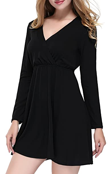 f9660b68945b DKBAYA Women Cross Deep V Neck Long Sleeve Ruched Vintage High Waist Casual Swing  Dress Black