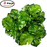 Z-Liant Artificial Plant Leaves : Pack of 4 | Monstera Palm Leaves | Palm Leaves Decorations | Artificial Shrubs Decorations | Fake Simulation Greenery Decorations | Garden-Office-Indoor&outdoor Decor