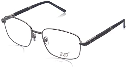 32c5bf02c783 Image Unavailable. Image not available for. Color: Montblanc Rectangular  Eyeglasses MB529 016 Size: 56mm Palladium/Dark ...