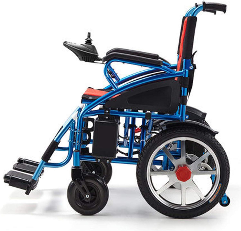 WZCXYX La Silla de Ruedas eléctrica, Plegable y portátil, 34 kg/Carga Completa Puede Conducir 15 km, Palanca de Mando de Control de 360 Grados, Soporte de Empuje Manual