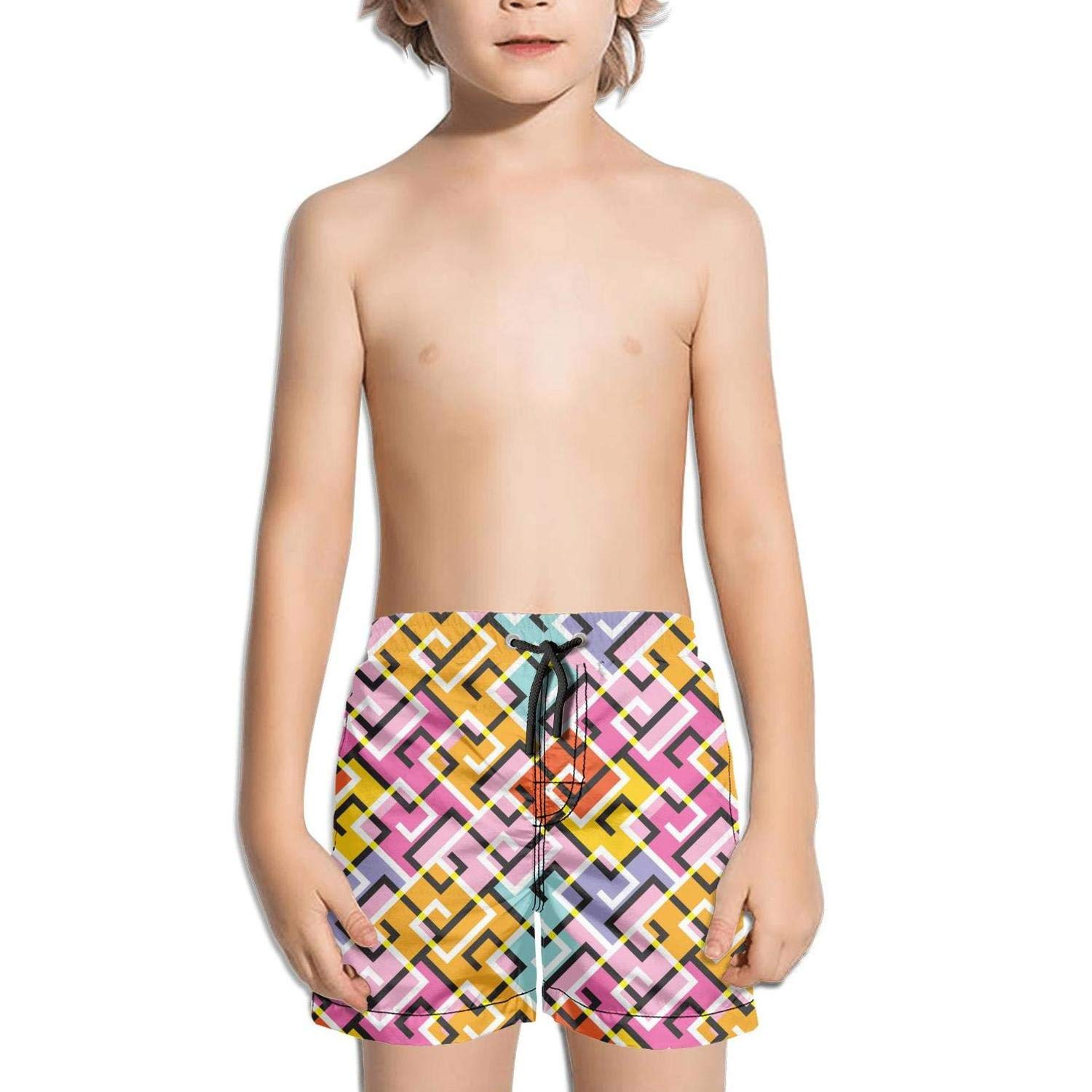 BingGuiC Boys Quick Dry Shorts Abstract Vintage 90s Style Colorful Fashion Swim Trunks