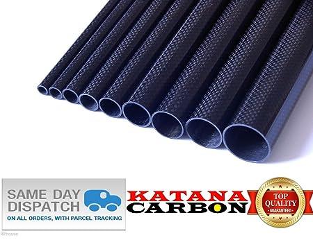 1x OD 20mm x ID 18mm x 500mm 3k Carbon Fiber Tube (Roll Wrapped) UK