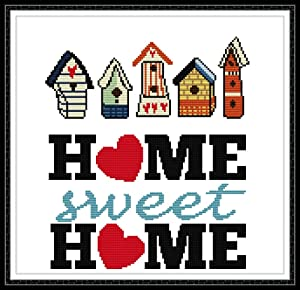 Full Range of Stamped Cross Stitch Kits, 100% Cotton DIY Embroidery Starter Kits DIY Needlework for Beginners Kids Adults - Sweet Home (Printed 11CT)