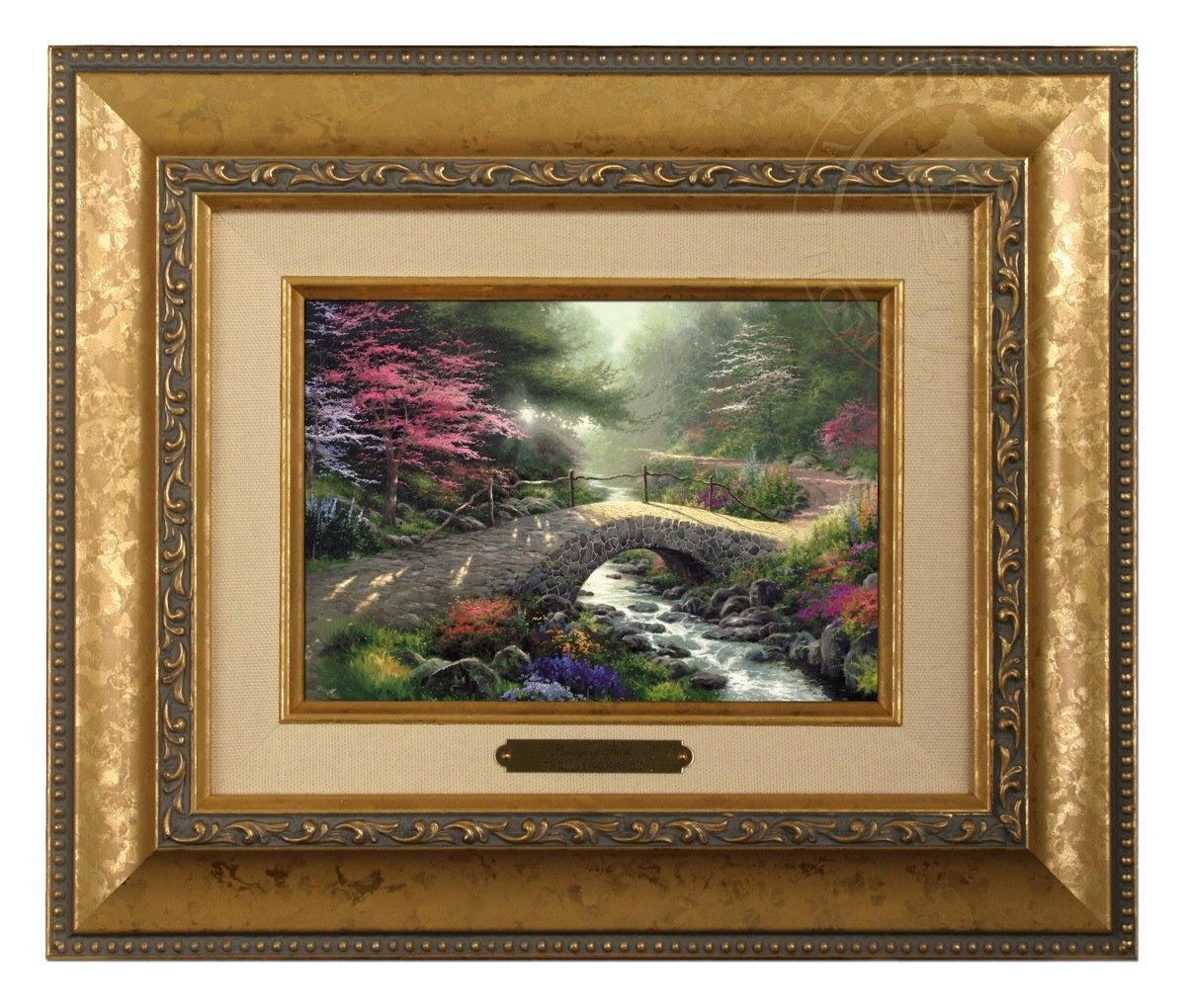 Thomas Kinkade Bridge of Faith Brushwork (Gold Frame)
