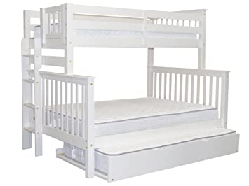 Bedz King Bunk Beds Twin Over Full Mission Style With End Ladder And A Trundle