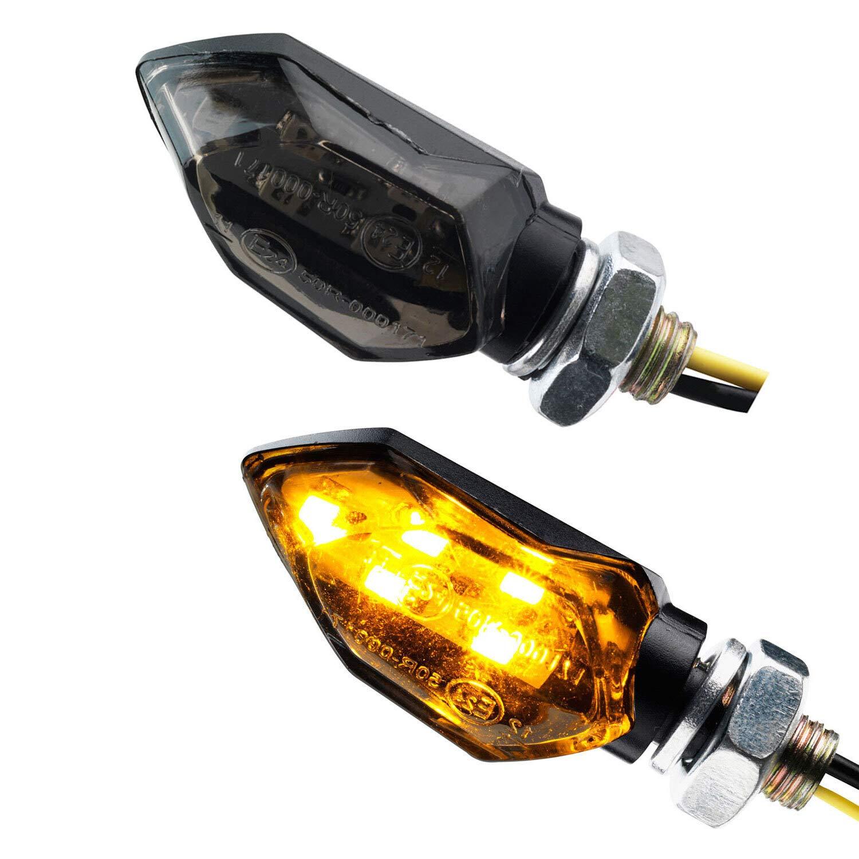 Motorrad Mini Micro LED Blinker Tight schwarz rauchgrau get/önt 12V universal e-gepr/üft