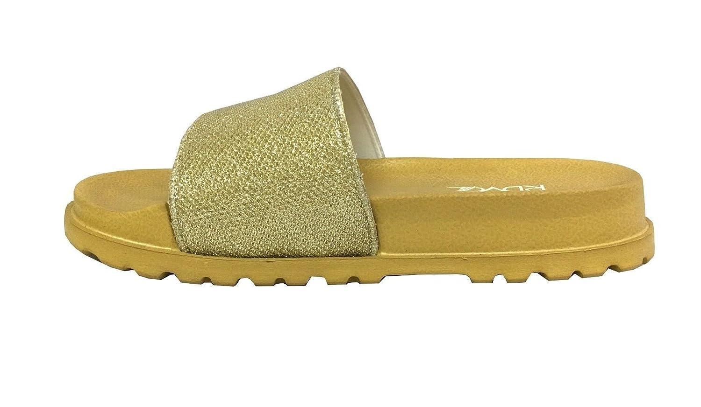 Womens Glitter Slide Soft Rubber Bottom Fashion Shoe Beach Pool Party-1919