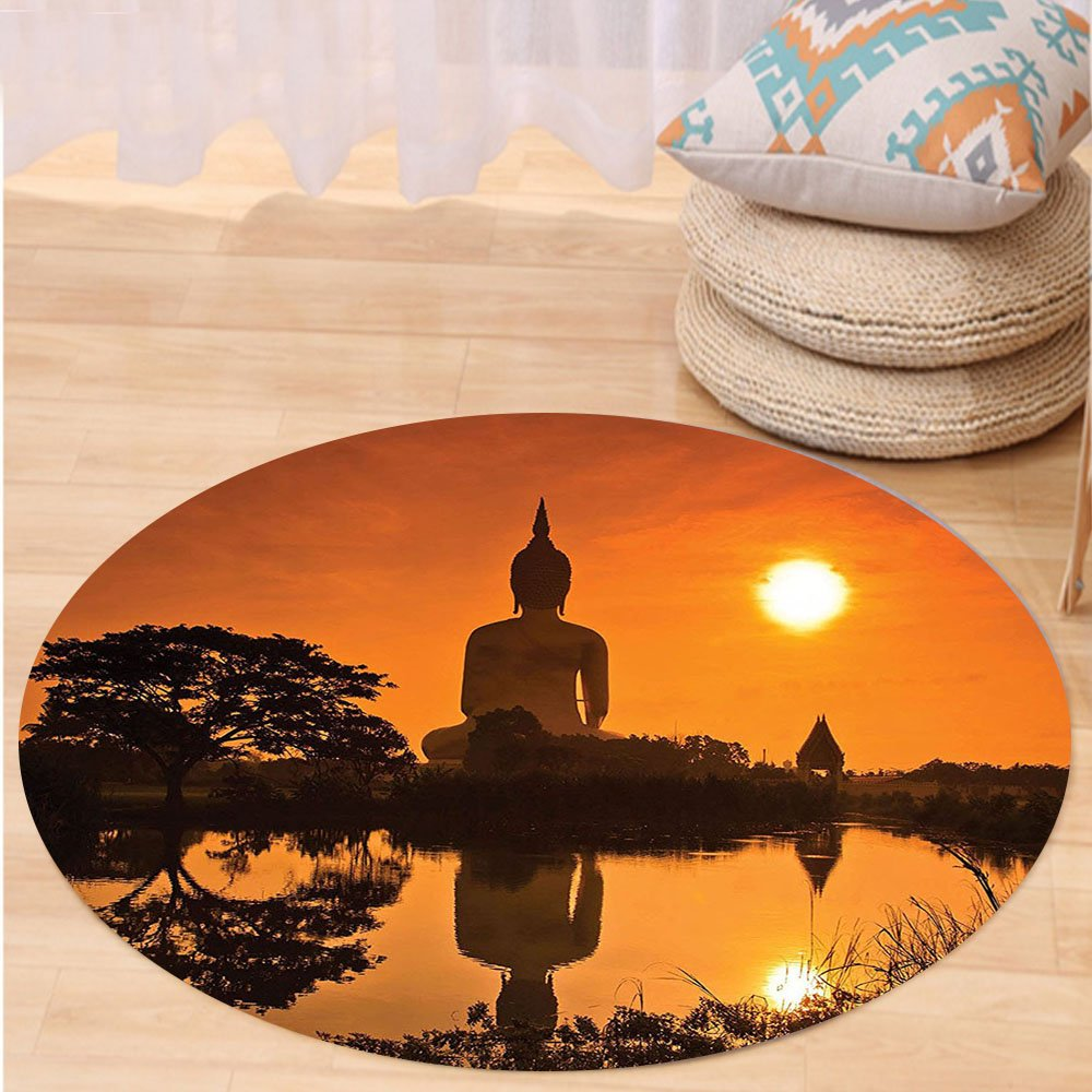 VROSELV Custom carpetOrange Asian Decor Big Giant Statue by the River at Sunset Thai Asian Culture Scene Yin Yang Print Bedroom Living Room Dorm Art Burnt Orange Round 79 inches by VROSELV