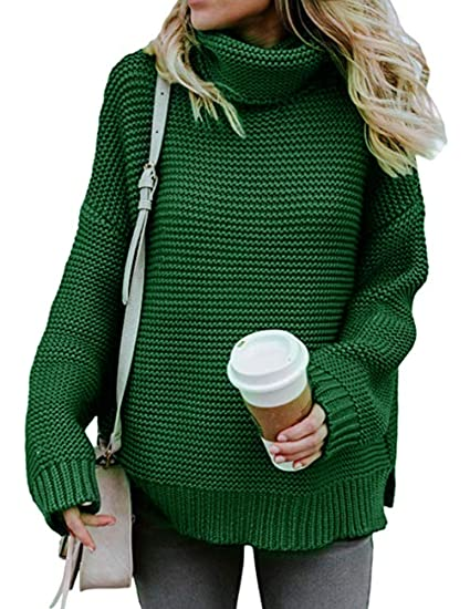 66c015d6b8 Image Unavailable. Image not available for. Color  Women Turtleneck Sweater  Long Sleeve Casual Chunky Loose Cable Knit Pullover Sweater Tops