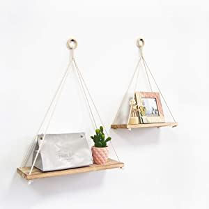 TFer Wood Rope Hanging Shelves Rustic Wall Mounted Shelves Set of 2, Solid Wood Floating Wall Shelf Farmhouse Décor for Bedroom Bathroom Living Room Office Kitchen