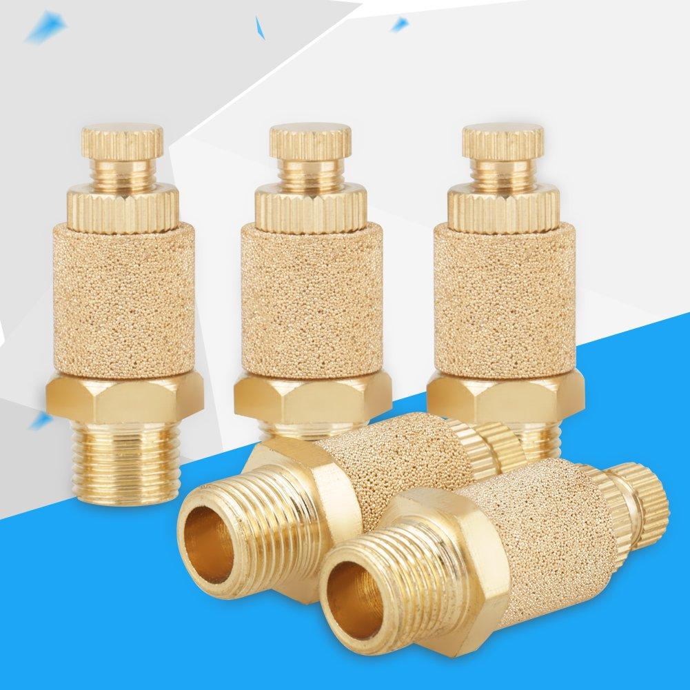 5pcs//set 1//8 BSP Valve Thread Adjustable Pneumatic Muffler Silencer Noise Exhaust Thread Flat Head Pneumatic Air Flow Speed Controller