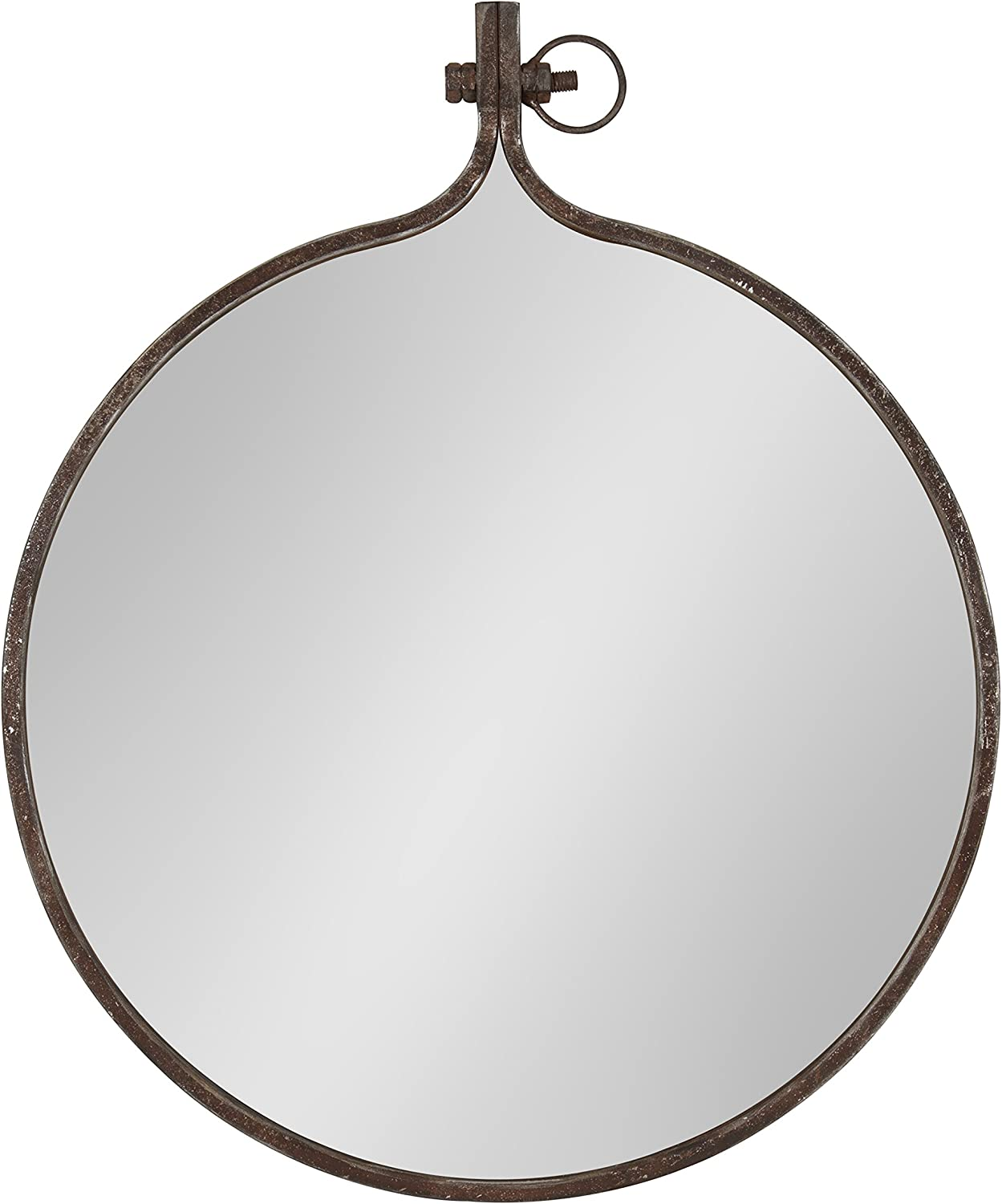 Kate and Laurel Yitro Round Industrial Rustic Metal Framed Wall Mirror, 23.5x28.5, Rustic Metal, Chic Industrial Accent Mirror for Wall