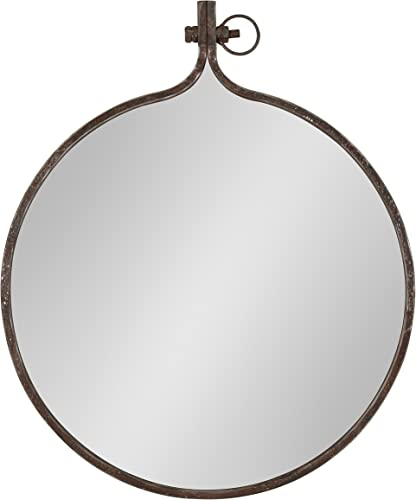 Kate and Laurel Yitro Round Industrial Rustic Metal Framed Wall Mirror, 23.5×28.5, Rustic Metal, Chic Industrial Accent Mirror for Wall