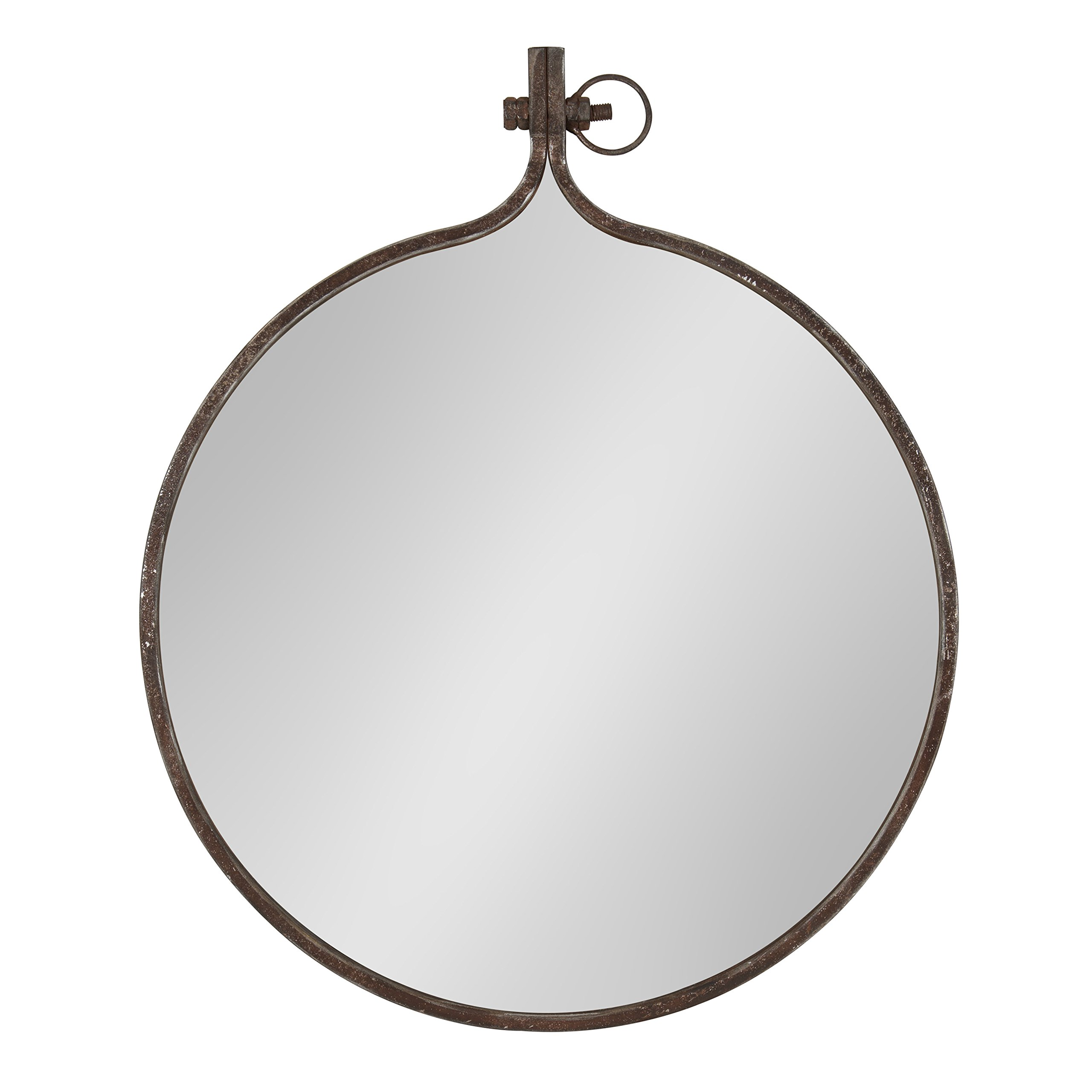 Kate and Laurel Yitro Round Industrial Rustic Metal Framed Wall Mirror, 23.5'' Diameter, Bronze by Kate and Laurel
