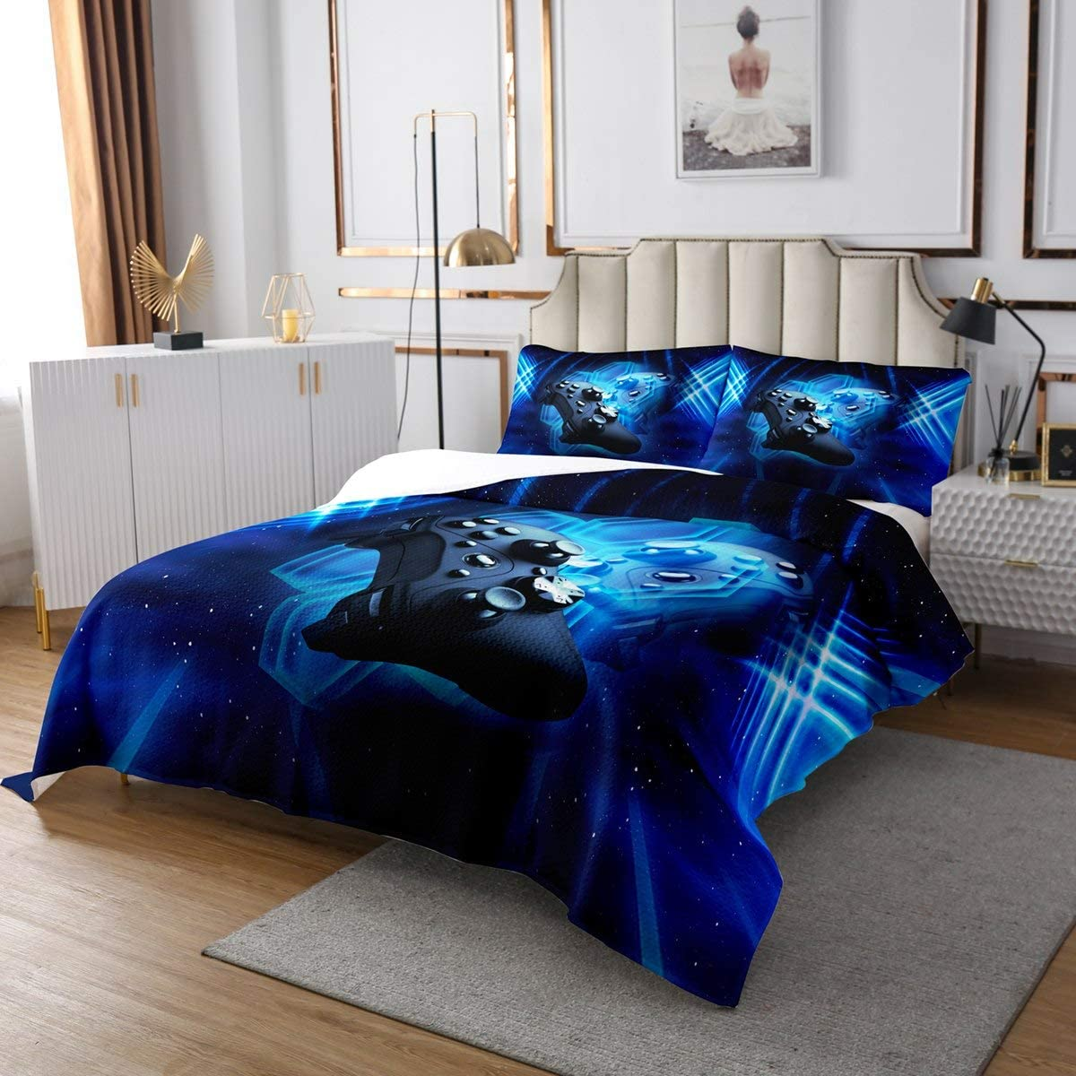 Gaming Coverlet Set Boys Teens Game Room Decor Quilted Coverlet Kids Youth Blue Gamepad Gamer Bedspread Modern Novelty Sci-Fi Style Video Games Bedspread Quilt Set Blue Galaxy Starry Sky Decor, Queen