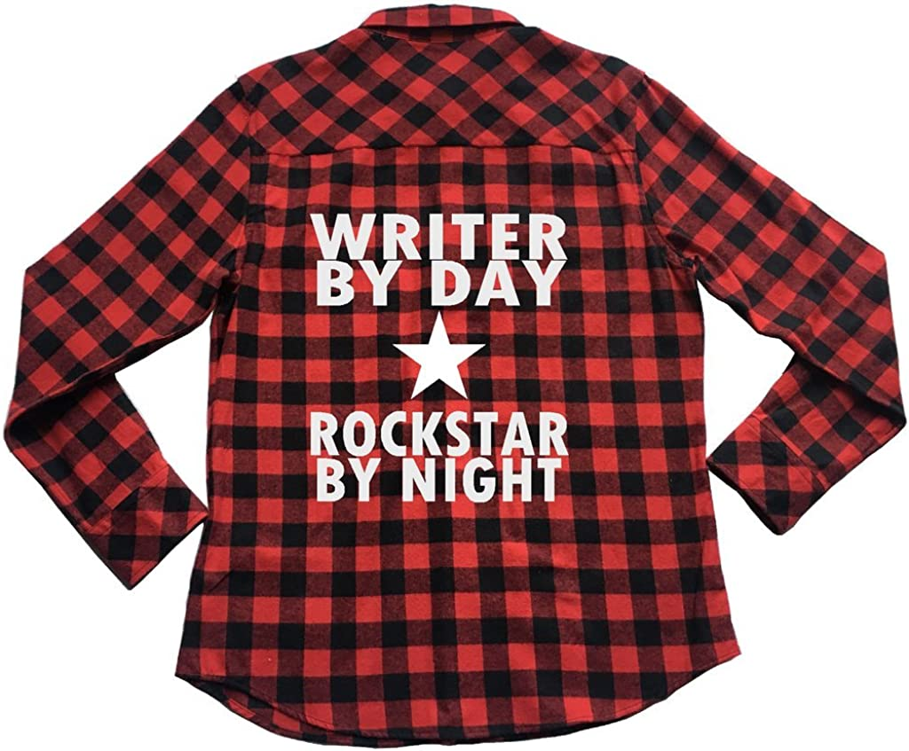 Unisex Plaid Flannel Shirt Apple Orange Gifts Writer by Day Rockstar by Night/