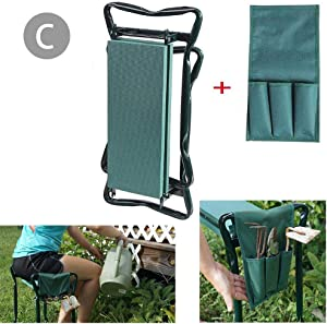 CHERRYSONG Garden Kneeler and seat, 2-in-1 Garden Kneeler with Handles Gardening Foldable,Gardening Knee Pad Padded Stool,Garden Seat Kneeler/Knee Protector