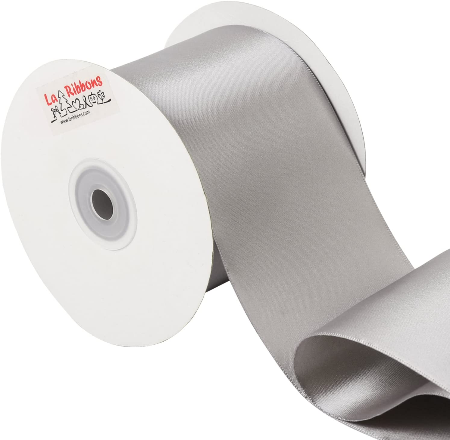 White LaRibbons 4 inch Wide Solid Color Double Face Satin Ribbon Great for Chair Sash 5 Yard//Spool