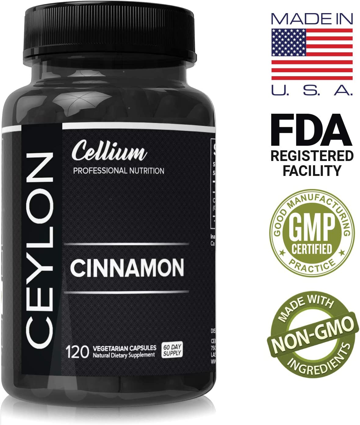 Organic Ceylon Cinnamon Capsules 1200mg - 120 Pills - Lower Blood Sugar Levels Improve Joint Mobility & Promote Weight Loss - Powerful Anti-Inflammatory & Antioxidant