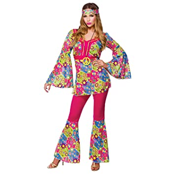 (M) Ladies Feelin Groovy Costume for 60s Mods Rockers Hippy Fancy Dress Womens  sc 1 st  Amazon UK : groovy costumes  - Germanpascual.Com