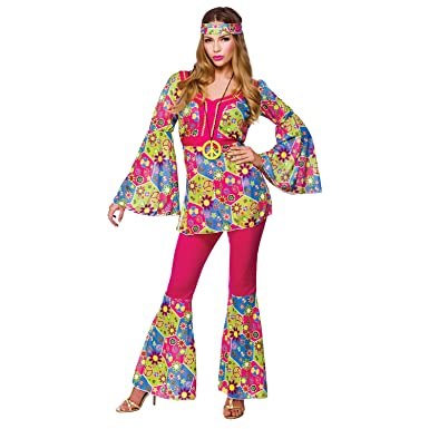 autumn shoes select for best matching in colour (XS) Ladies Feelin Groovy Costume for 60s Mods Rockers Hippy Fancy Dress  Womens