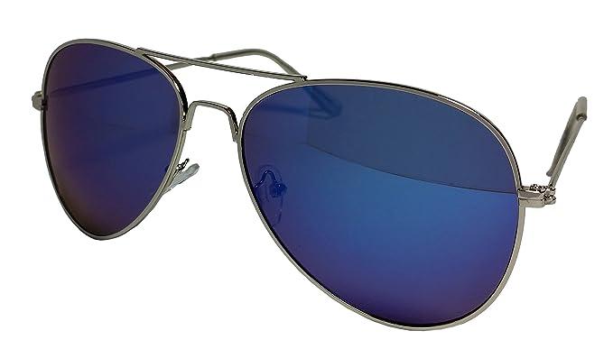 42e93ec9b9 Blue Aviator Sunglasses With Silver Frame And Dark Tint Lens Unisex   Amazon.co.uk  Clothing