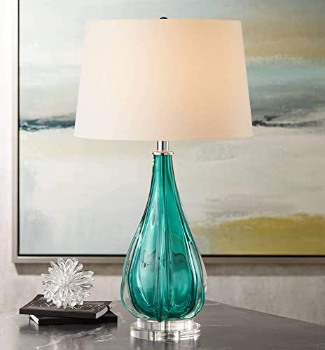 Claudette Modern Table Lamp Turquoise Glass Wave Pattern Tapered White Drum Shade for Living Room Family Bedroom Bedside – Possini Euro Design
