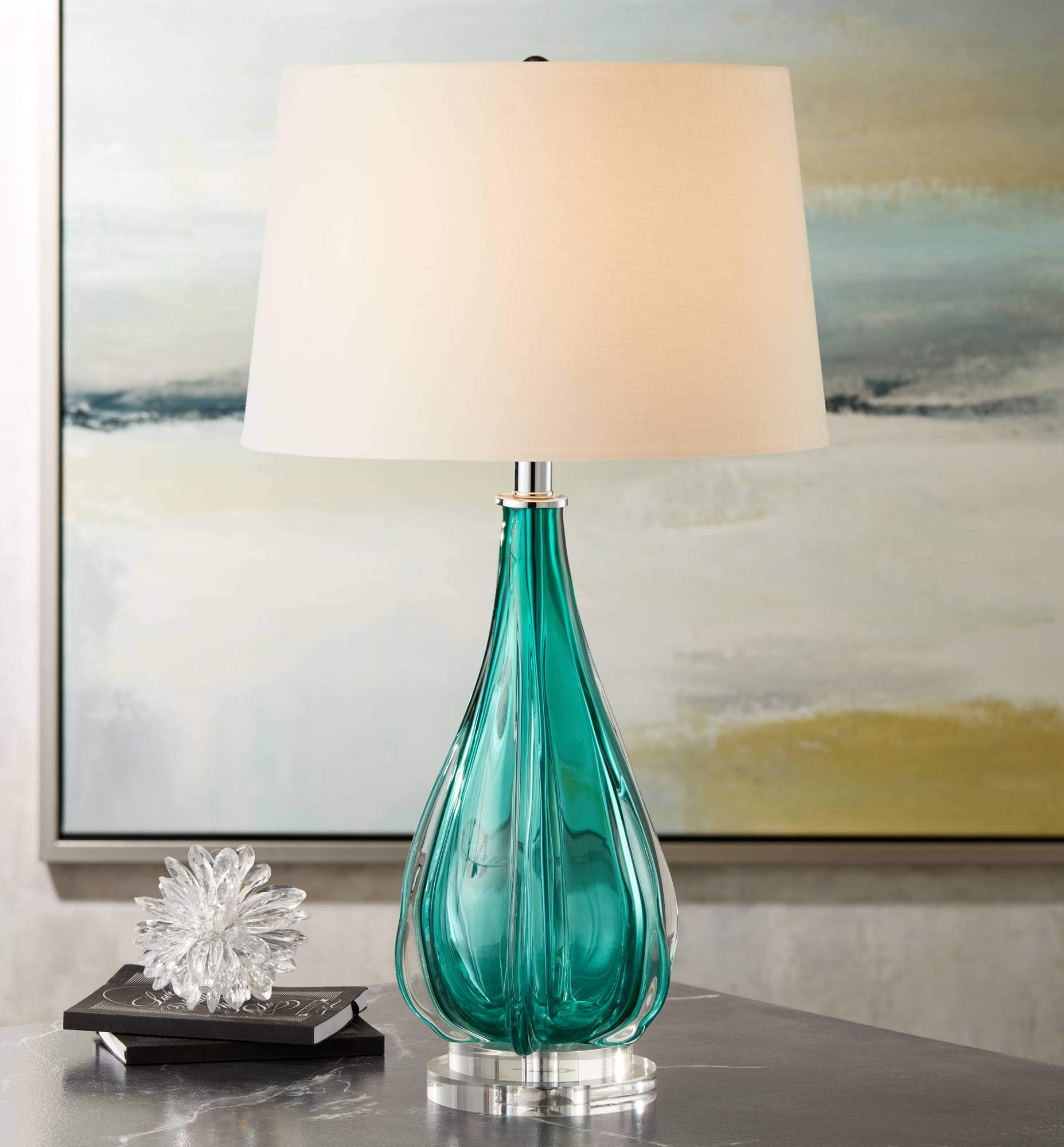 Claudette Modern Table Lamp Turquoise Glass Wave Pattern Tapered White Drum Shade for Living Room Family Bedroom Bedside - Possini Euro Design