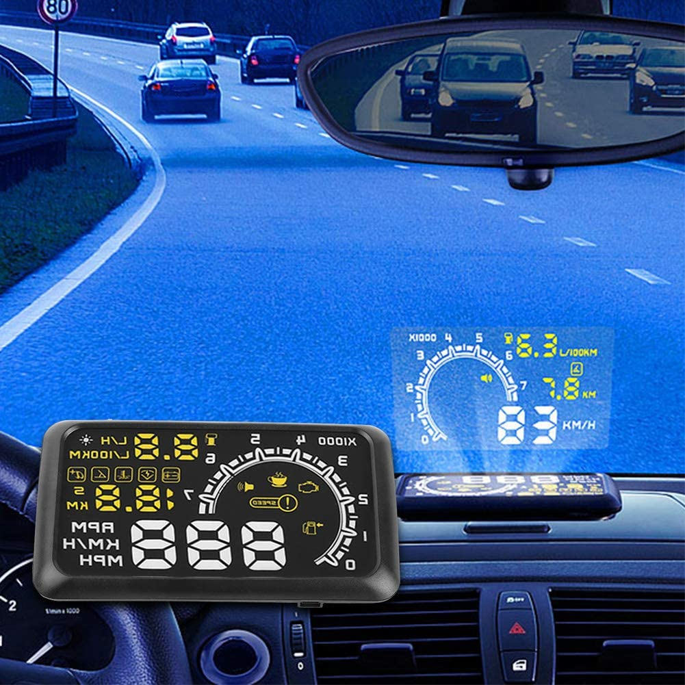 Qiilu 5.5 HD OBD2 Car GPS HUD Head Up Speed Display Over Speed Warning Plug /& Play