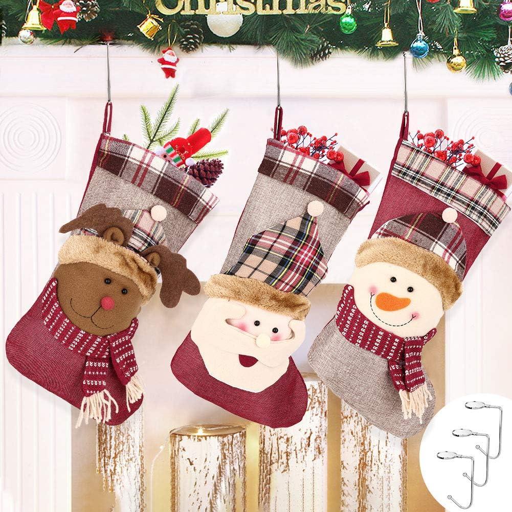 Medias de Navidad, 3PCS Calcetines Decoración Navideña, Calcetín de Navidad Bolsas de Regalo para Navidad con 3 Ganchos de Metal, Calcetin Chimenea para Decoraciones de Fiesta, Tamaño Grande