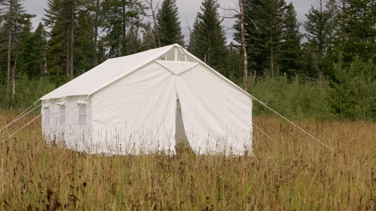 Elk Mountain Tents Outdoor Large Canvas Waterproof Wall Tent and Angle Kit with Screened Windows and Stove Pip Jack, Best for Family Camping and Hunting Trip