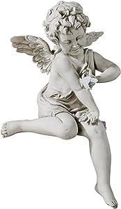 Design Toscano KY47014 Peaceful Presence Angel Sitter Garden Statue, Antique Stone